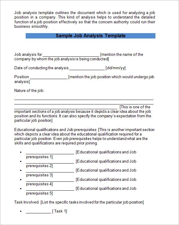 Job Analysis Template - 6+ Download Free Documents in PDF, Word - job qualifications list