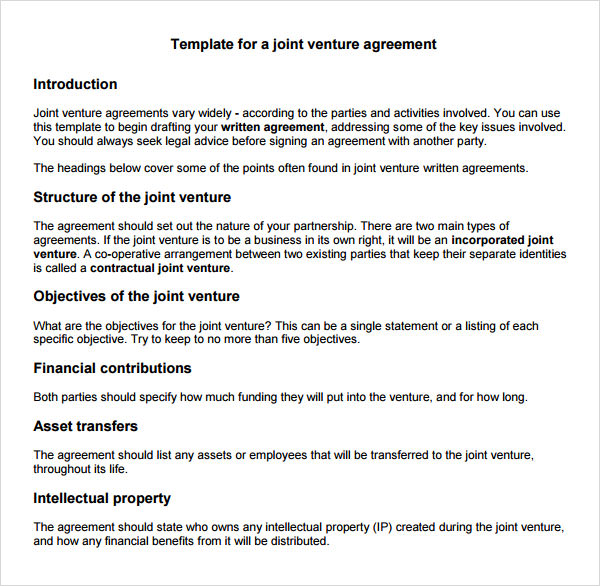 Joint Venture Company Agreement Template | Create Professional
