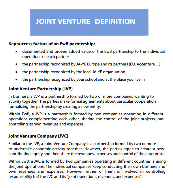 10+ Joint Venture Templates Sample Templates