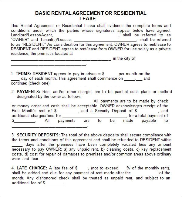 Free Residential Lease Agreement Template Georgia  Bill Of Lading