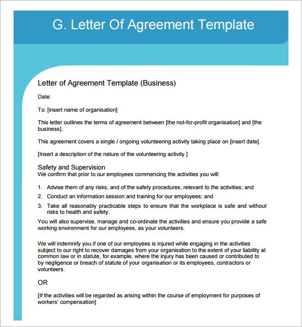 17+ Letter of Agreement Templates \u2013 PDF, DOC Sample Templates