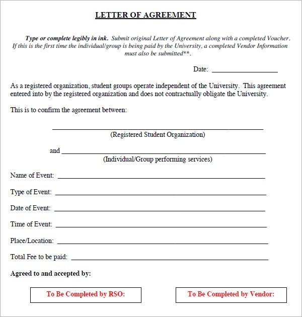 16+ Letter of Agreement Templates - PDF, DOC