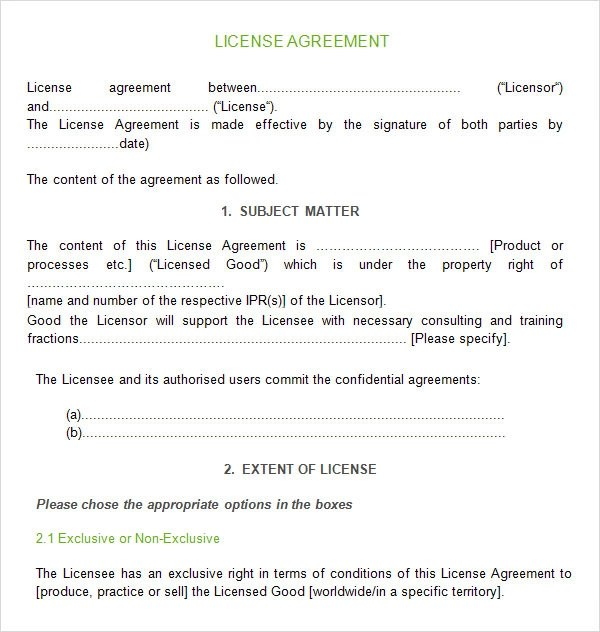 12 License Agreement Templates Download for Free Sample Templates - license agreement template
