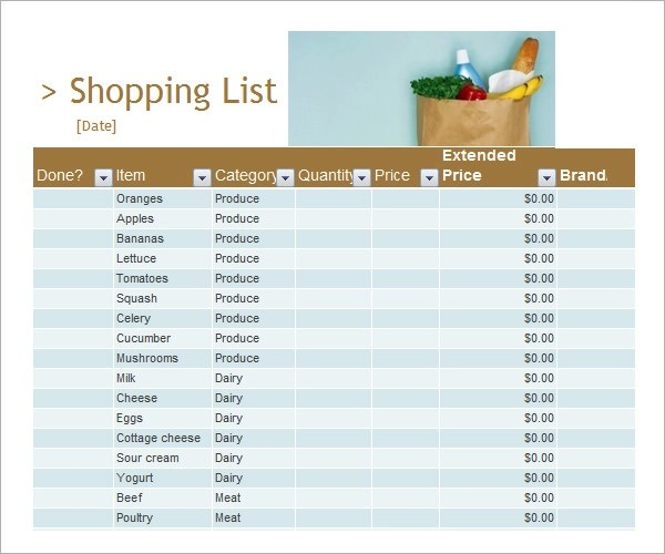 8+ Sample Shopping List Templates Sample Templates - grocery list template word
