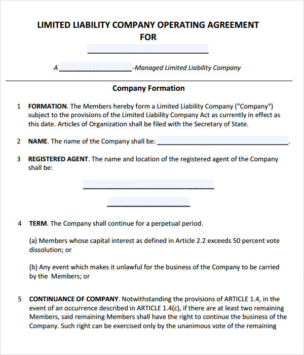operating agreement template for llc