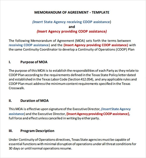 Memorandum of Agreement - 12+ Free PDF , DOC Download - agreement between two parties template