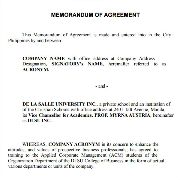 sample memorandum of agreement between two parties - Yelom - Example Of Agreement Between Two Parties