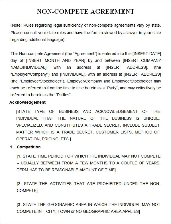 7 Sample Non Compete Agreement Templates to Download Sample Templates