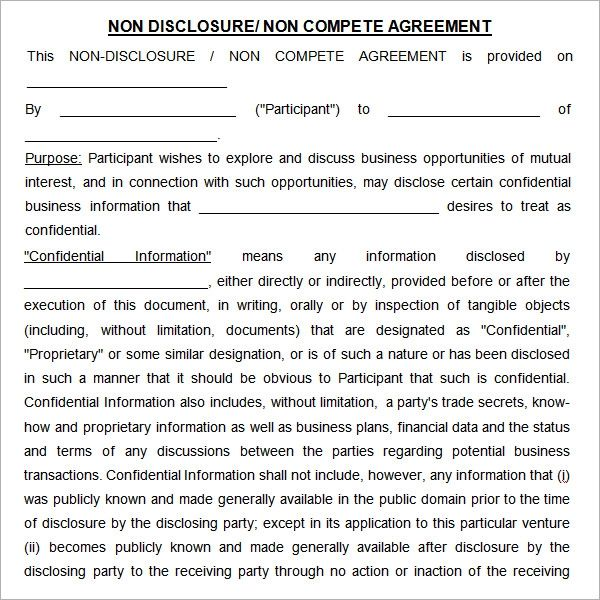 sample non compete agreement download