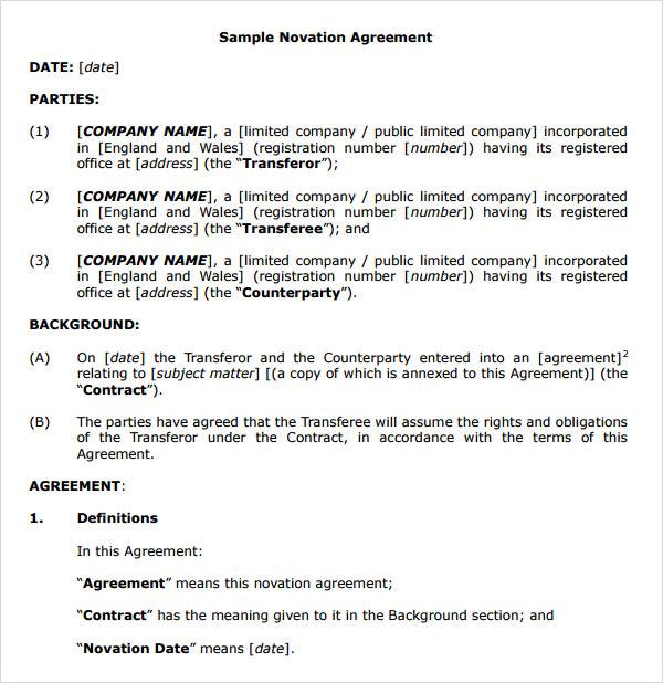 sample novation agreement - gerhard-leixl - sample collective bargaining agreement