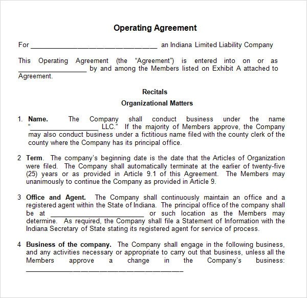 Operating Agreement - 8 Free PDF , DOC Download - business operating agreement