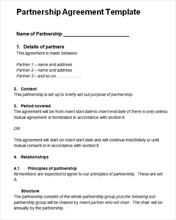 Sample Partnership Contract Template | Create Professional Resumes