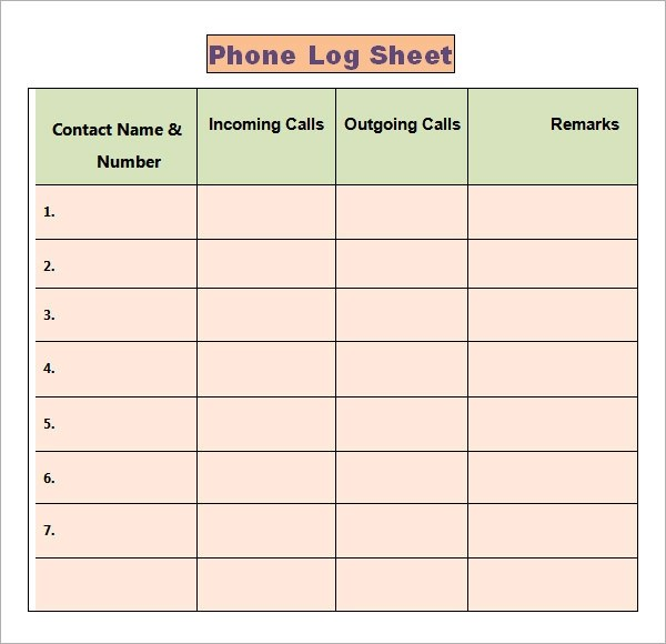 Phone Log Template - 7+ Free PDF, DOC Download - free business bill of sale template