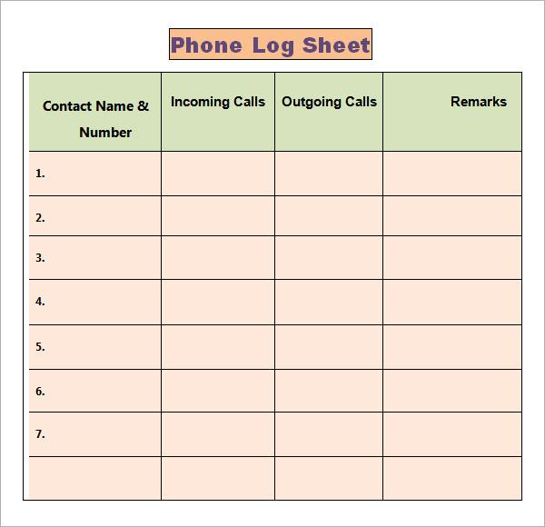 office call log template