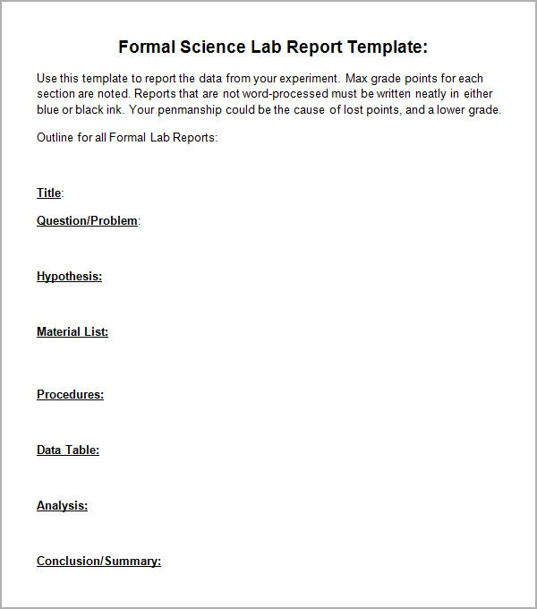 6 Sample Lab Report Templates Sample Templates