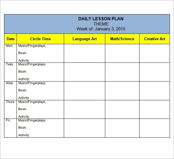 10 Sample Preschool Lesson Plan Templates Sample Templates - free daily lesson plan template