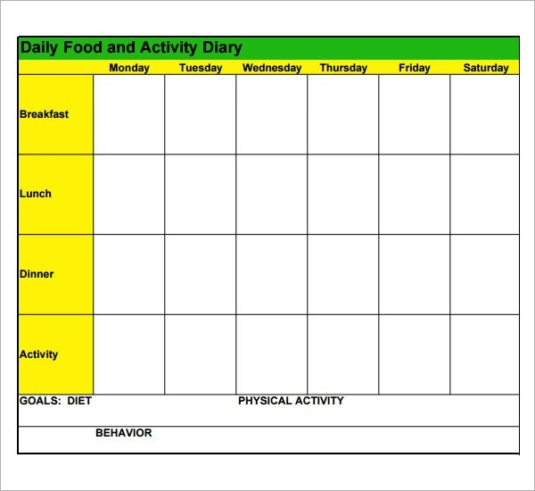 Health Diary Template – Food Diary Template Download