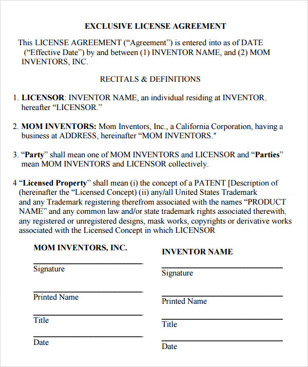 Sample License Agreement Template - 10+ Free Documents in PDF, DOC - sample licensing agreement
