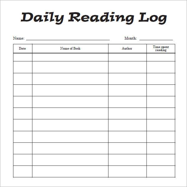 12+ Sample Reading Log Templates - PDF, Word