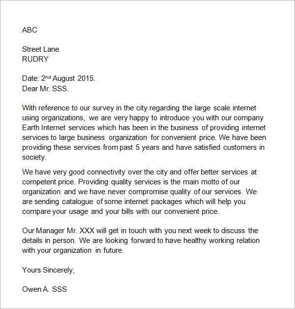 Sample Business Introduction Letter - 14+ Free Documents in PDF, Word - sample business letter example