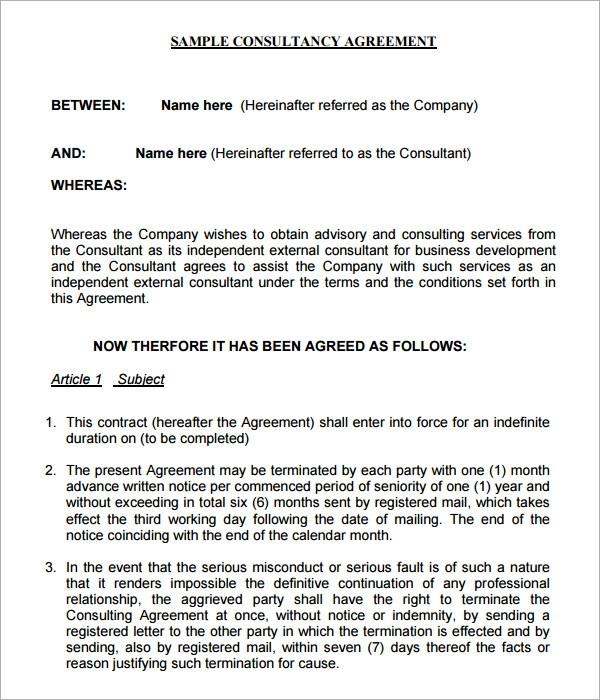 10 Sample Free Consulting Agreement Templates Sample Templates - simple consulting agreement