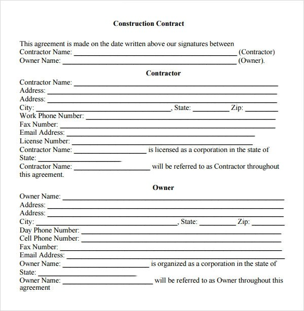 Sample Contractual Agreement - 5+ Documents in PDF, Word - free construction contracts templates