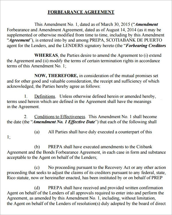 Sample Forbearance Agreement Free Printable Agreement For - contract amendment template