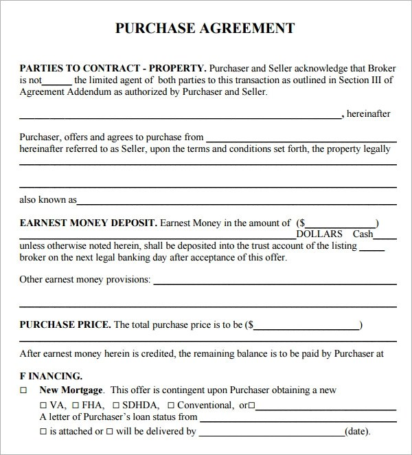 property purchase agreement template - 28 images - purchase