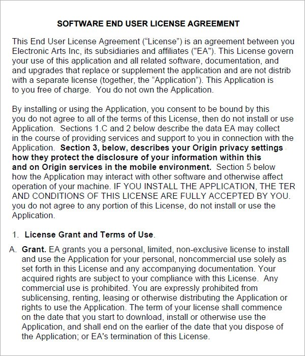 6 Sample Free End User License Agreement Templates Sample Templates - sample software license agreement