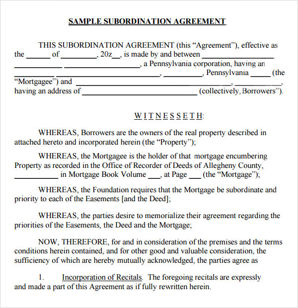 Sample Loan Agreement Template Free Professional resumes example - subordination agreement template