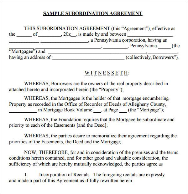 Subordination Agreement Subordination Agreement Template - mandegarinfo