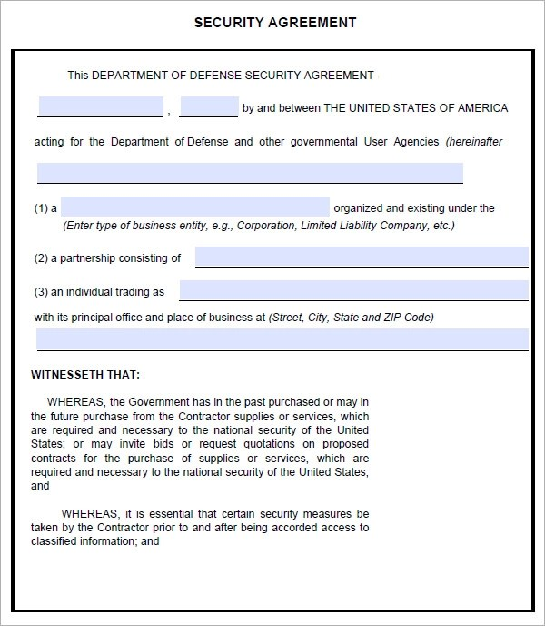 security company contract template - Josemulinohouse - security agreement template