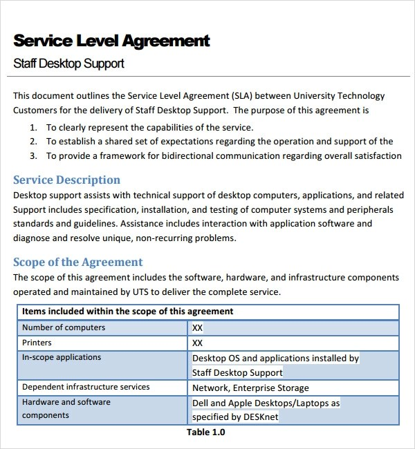 It Service Contract Template Free. Sample Service Agreement