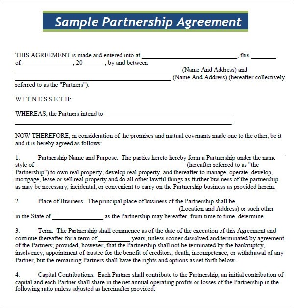 sample business partnership contract - Goalgoodwinmetals - business partnership contract sample