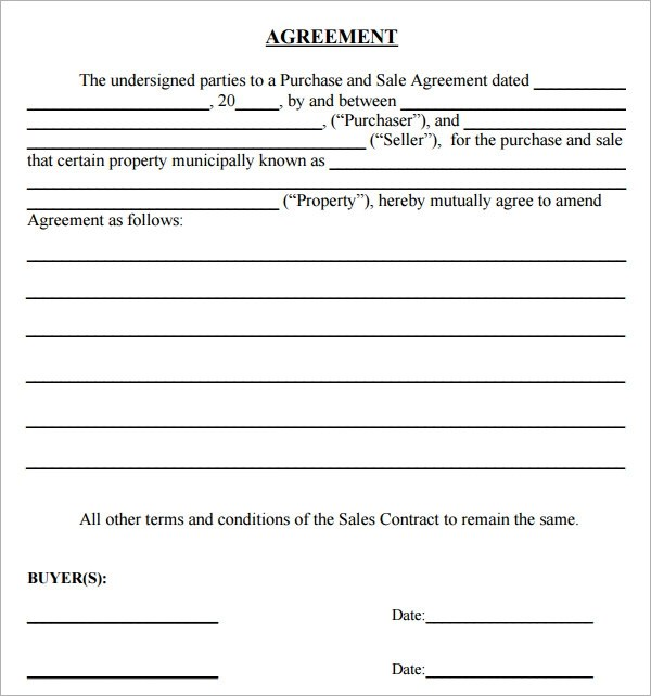 16 Sample Purchase Agreement Templates to Download Sample Templates - home sales agreement template