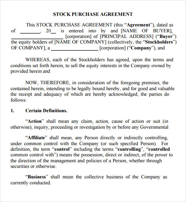 Stock Purchase Agreement - 10+ Download Documents in PDF, Word