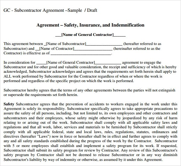 Masterformat Sample Subcontractor Agreement 10 Free Documents