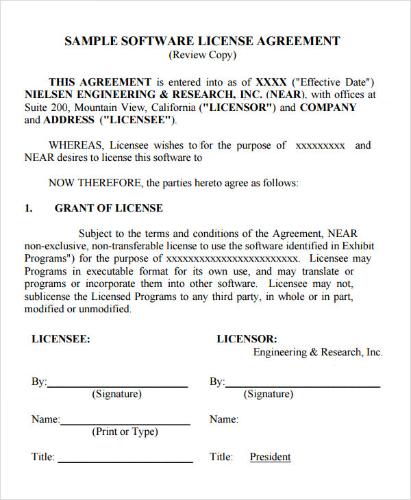 Sample License Agreement Template - 27+ Free Documents in PDF, DOC