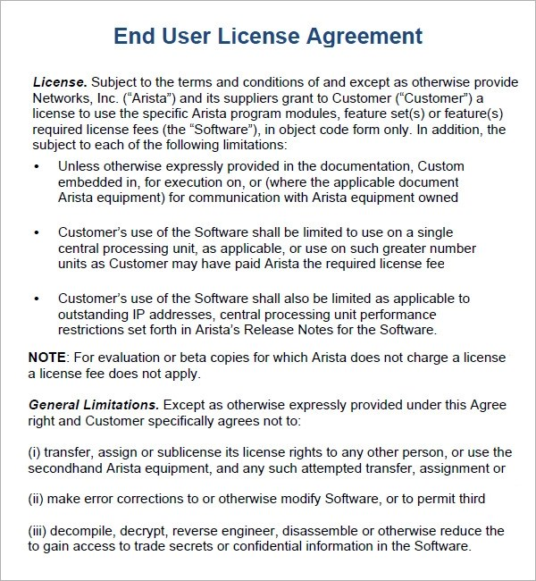 6 Sample Free End User License Agreement Templates Sample Templates