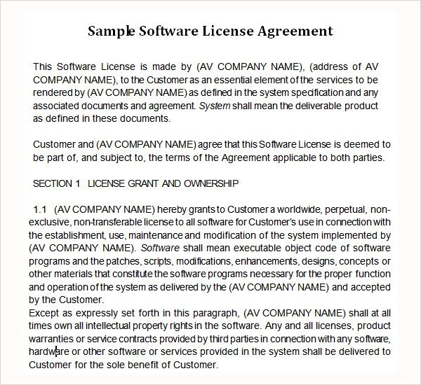 8 Sample Useful Software License Agreement Templates Sample Templates