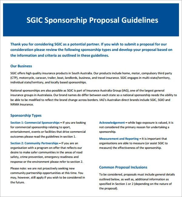 sponsorship proposal template free