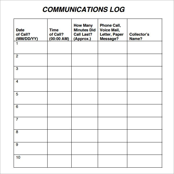 Sample Communication Log - 6+ Documents in PDF, Word - time log sample