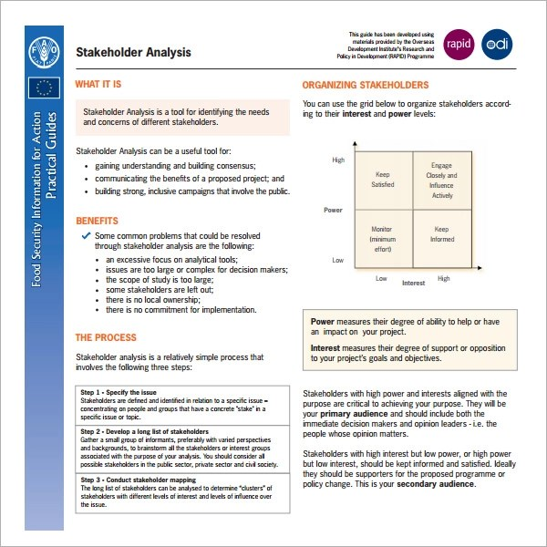 Stakeholder Analysis Sample - 10+ Documents in Word, Excel, PDF