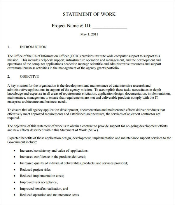 Sample Statement of Work Template - 13+ Free Documents Download in