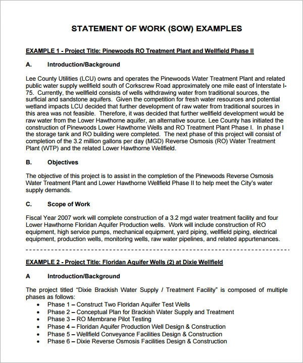 13+ Statement of Work Templates Sample Templates