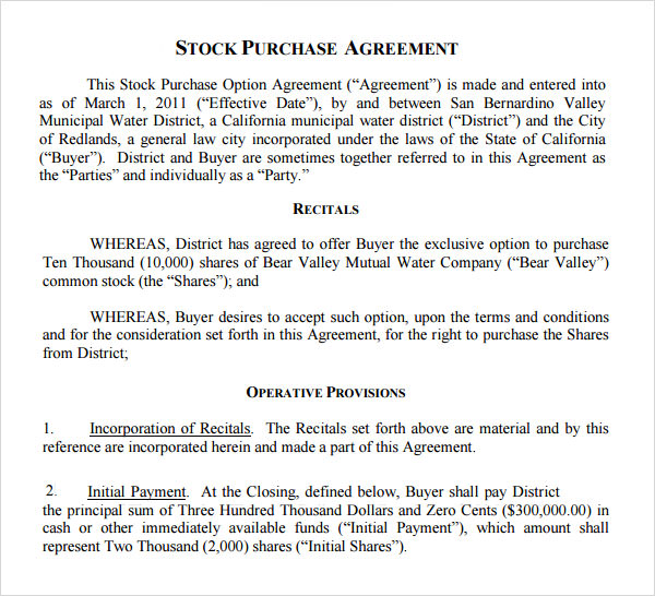 11 Stock Purchase Agreement Templates to Download Sample Templates - stock purchase agreement