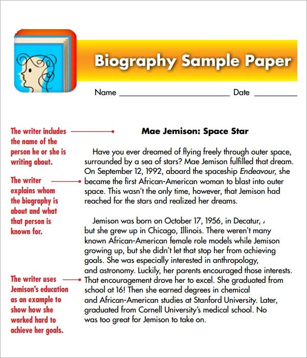 Sample Biography - 6+ Example, Format - microsoft word biography template