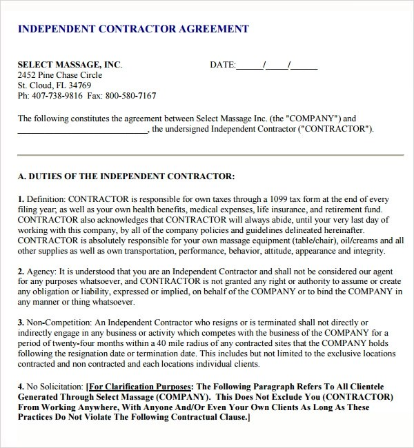Sample Contractor Subcontractor Agreement | Resume Sample For