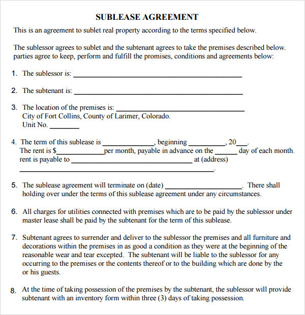 Leasing Agreement - 7+ Free PDF Download - sublease agreement