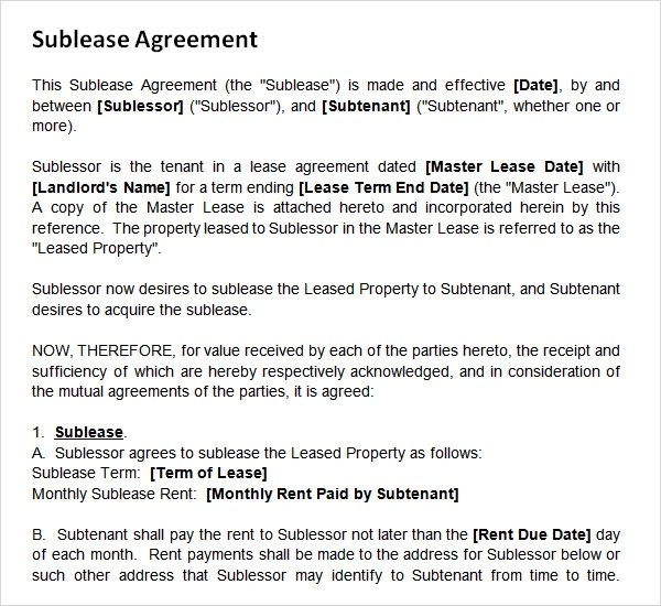 23 Sample Free Sublease Agreement Templates to Download Sample
